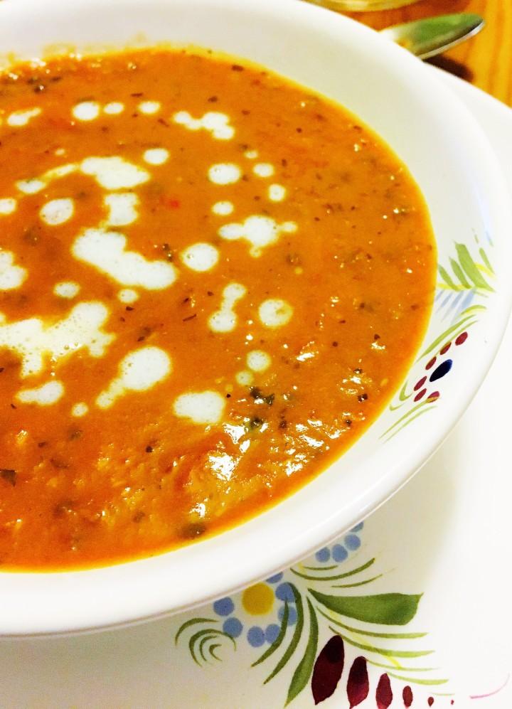 Soupe de lentilles du Puy au curry et crème decoco