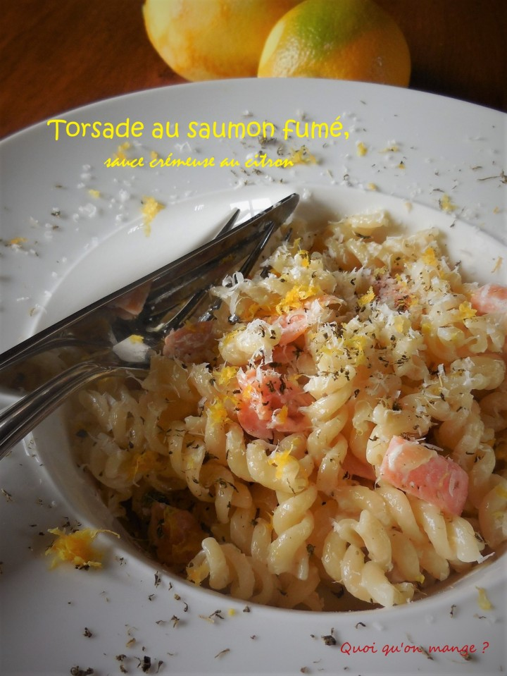 Torsade au saumon fumé, sauce crémeuse au citron