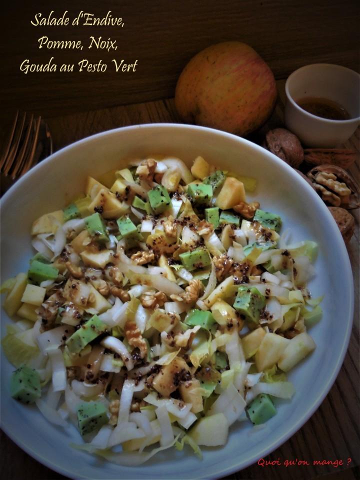 Salade d'Endive, Pomme, Noix et Gouda au Pesto Vert