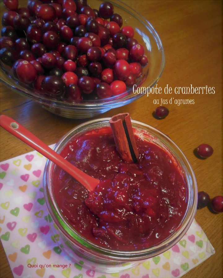 Compote de cranberries au jus d'agrumes