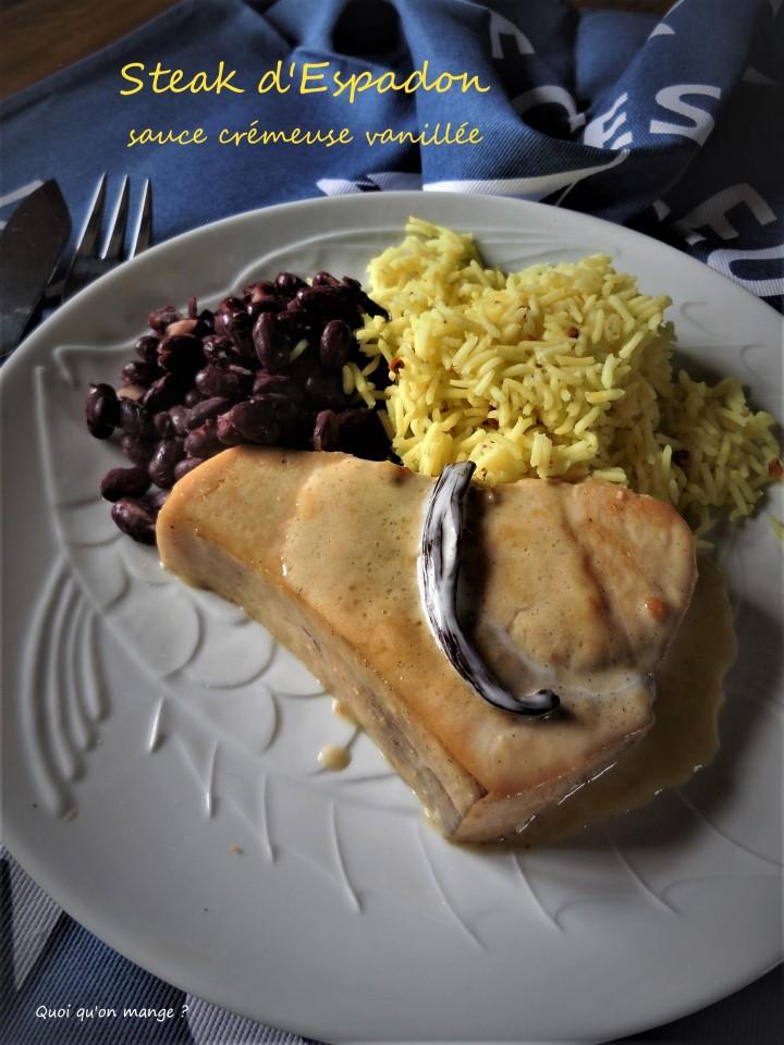 Steak d'espadon, sauce crémeuse à lavanille