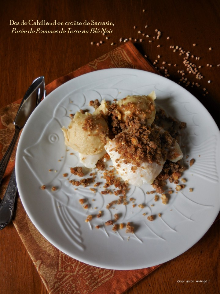 Dos de cabillaud en croûte de sarrasin, purée de pommes de terre au blénoir