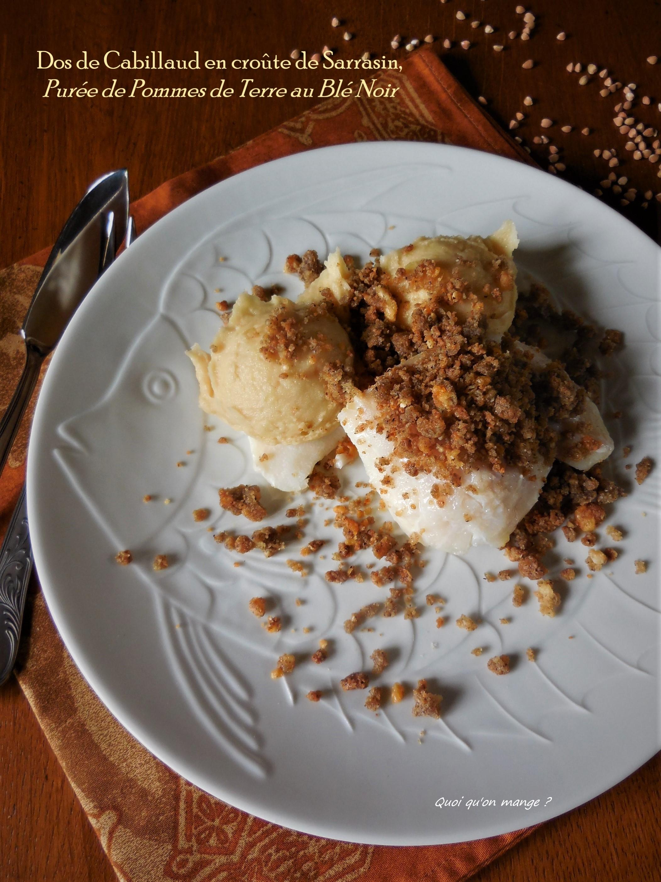 Dos de cabillaud en croûte de sarrasin, purée de pommes de terre au blé noir