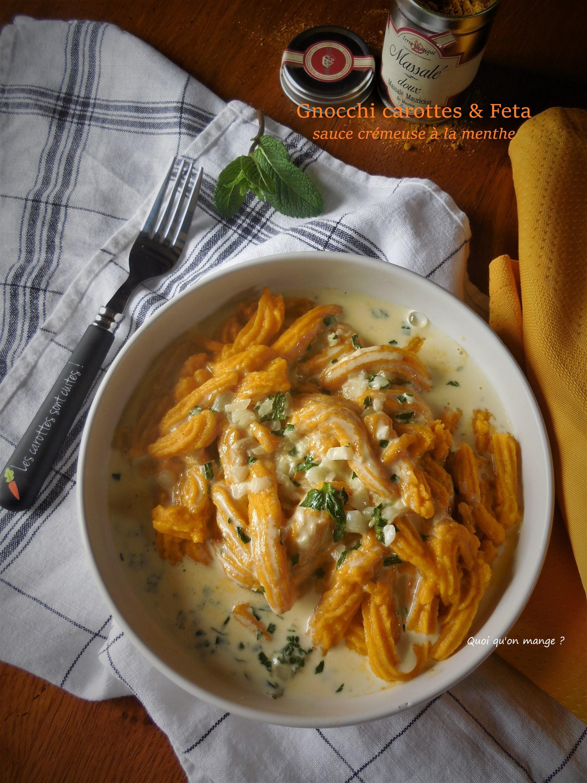 Gnocchi carottes & feta, sauce crémeuse à la menthe