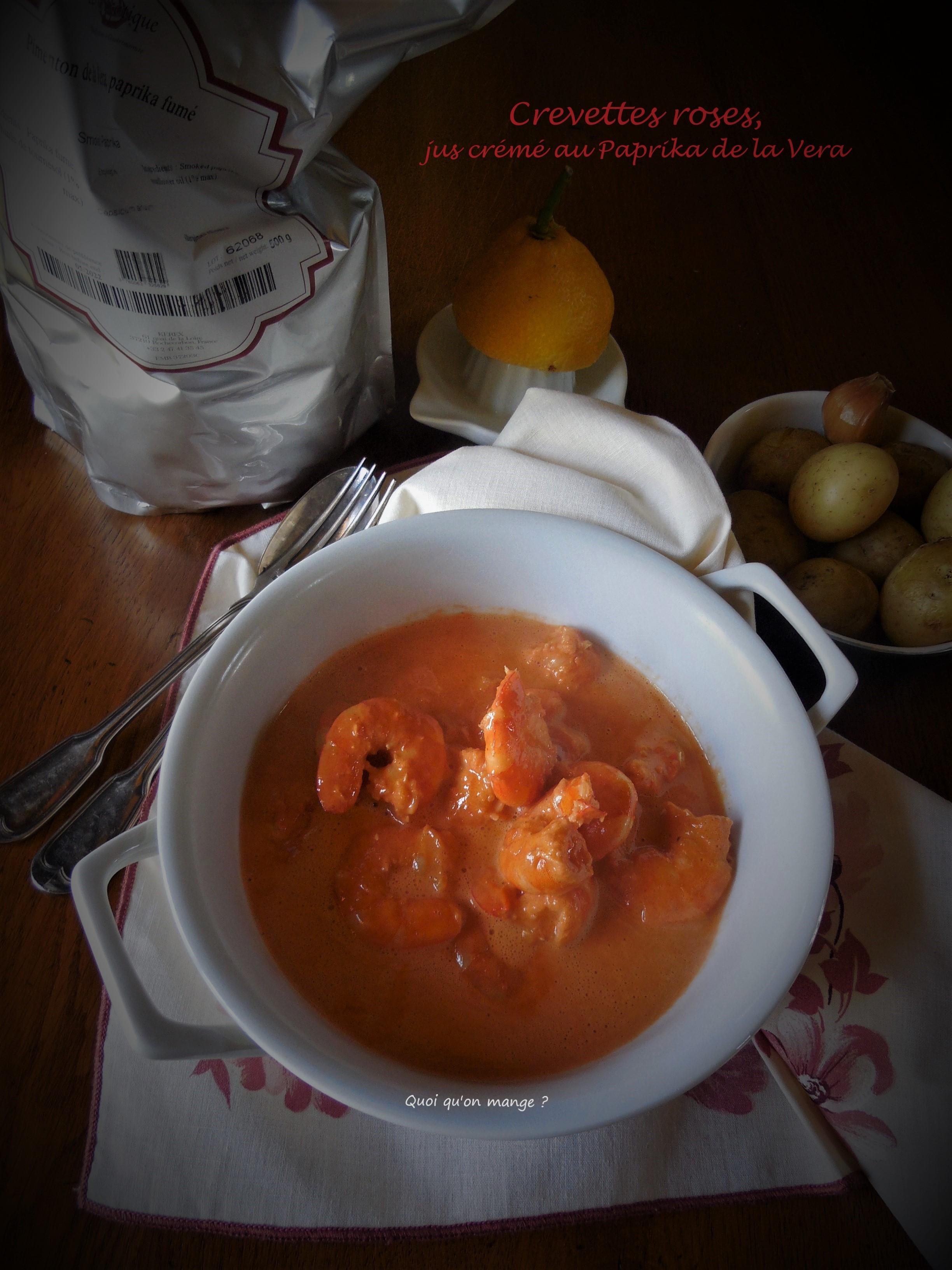 Crevettes roses, jus de carcasses crémé au Paprika de la Vera