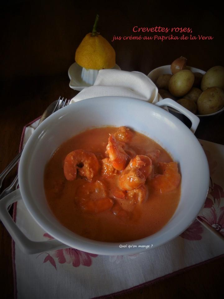 Crevettes roses, jus de carcasses crémé au Paprika de laVera