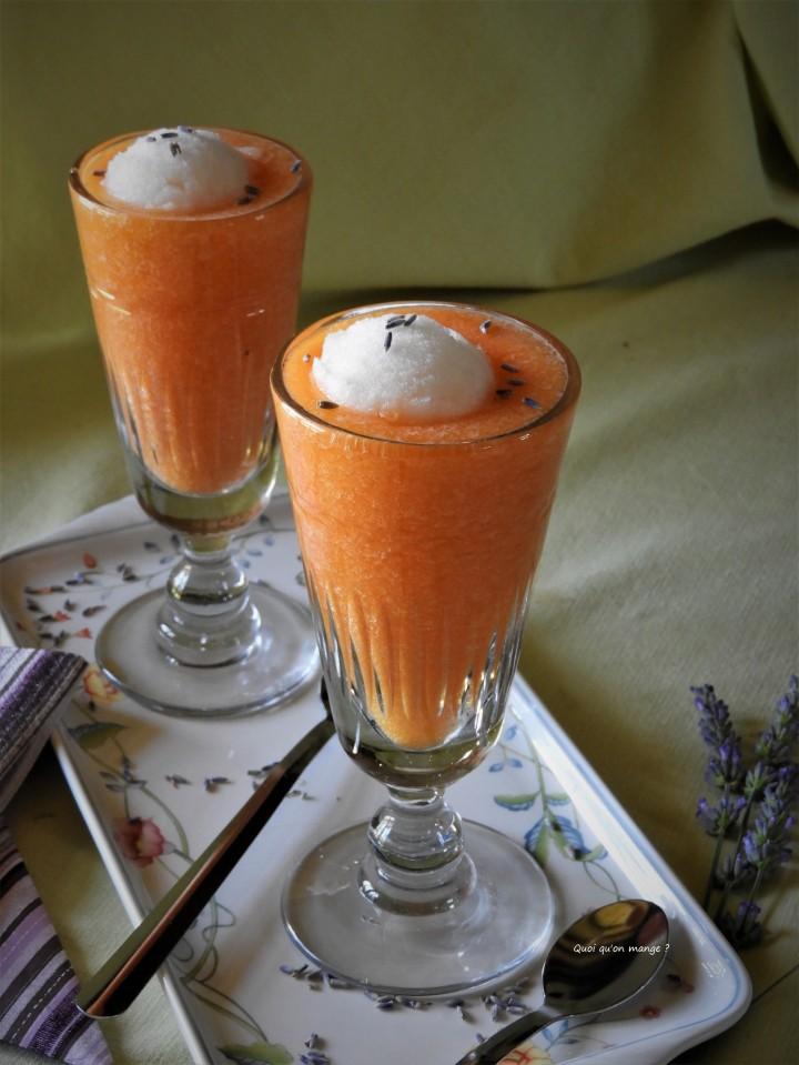 Soupe de melon glacée et son sorbet à la lavande