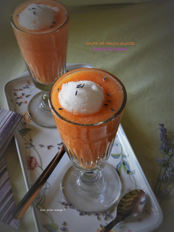 Soupe de melon glacée et sorbet à lalavande