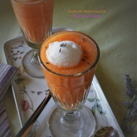 Soupe de melon glacée et sorbet à la lavande