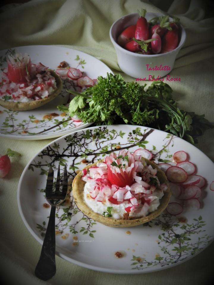 Tartelette aux radis roses, inspirée de la 'douce tartelette' de JFPiège