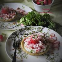 Tartelette aux radis roses, inspirée de la 'douce tartelette' de JF Piège