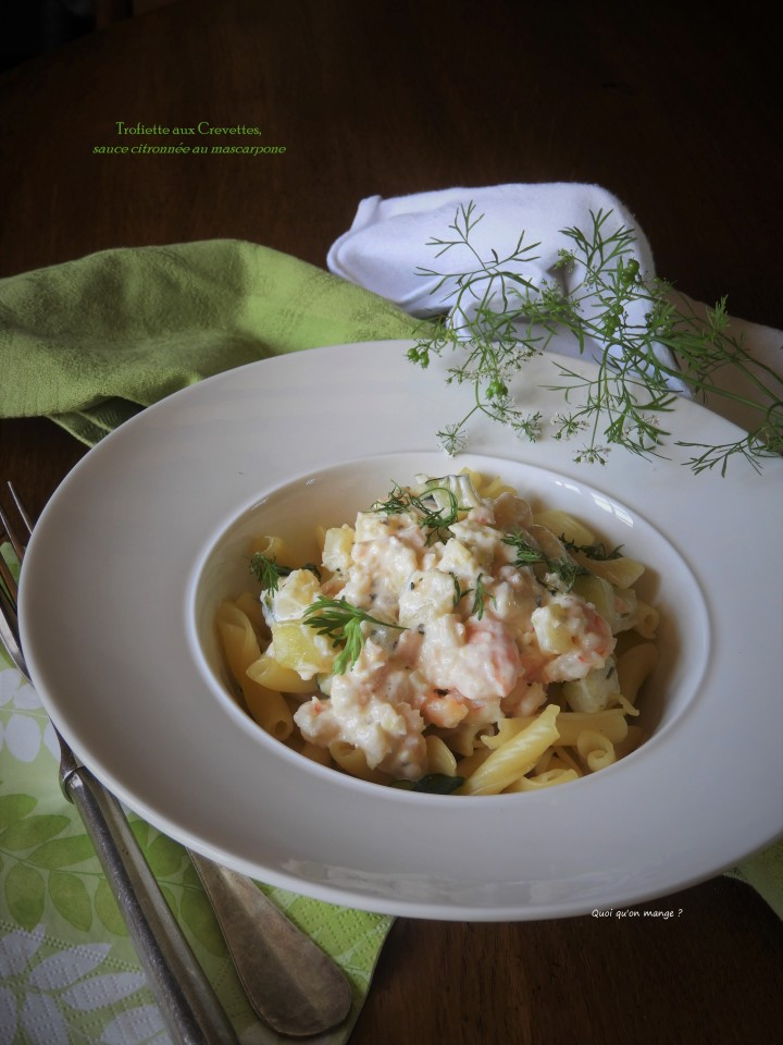 Trofiette aux crevettes, sauce citronnée au mascarpone