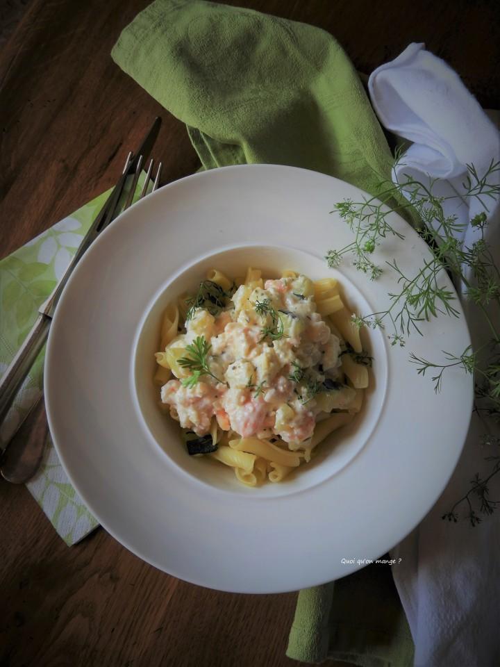 Trofiette aux crevettes, sauce citronnée aumascarpone