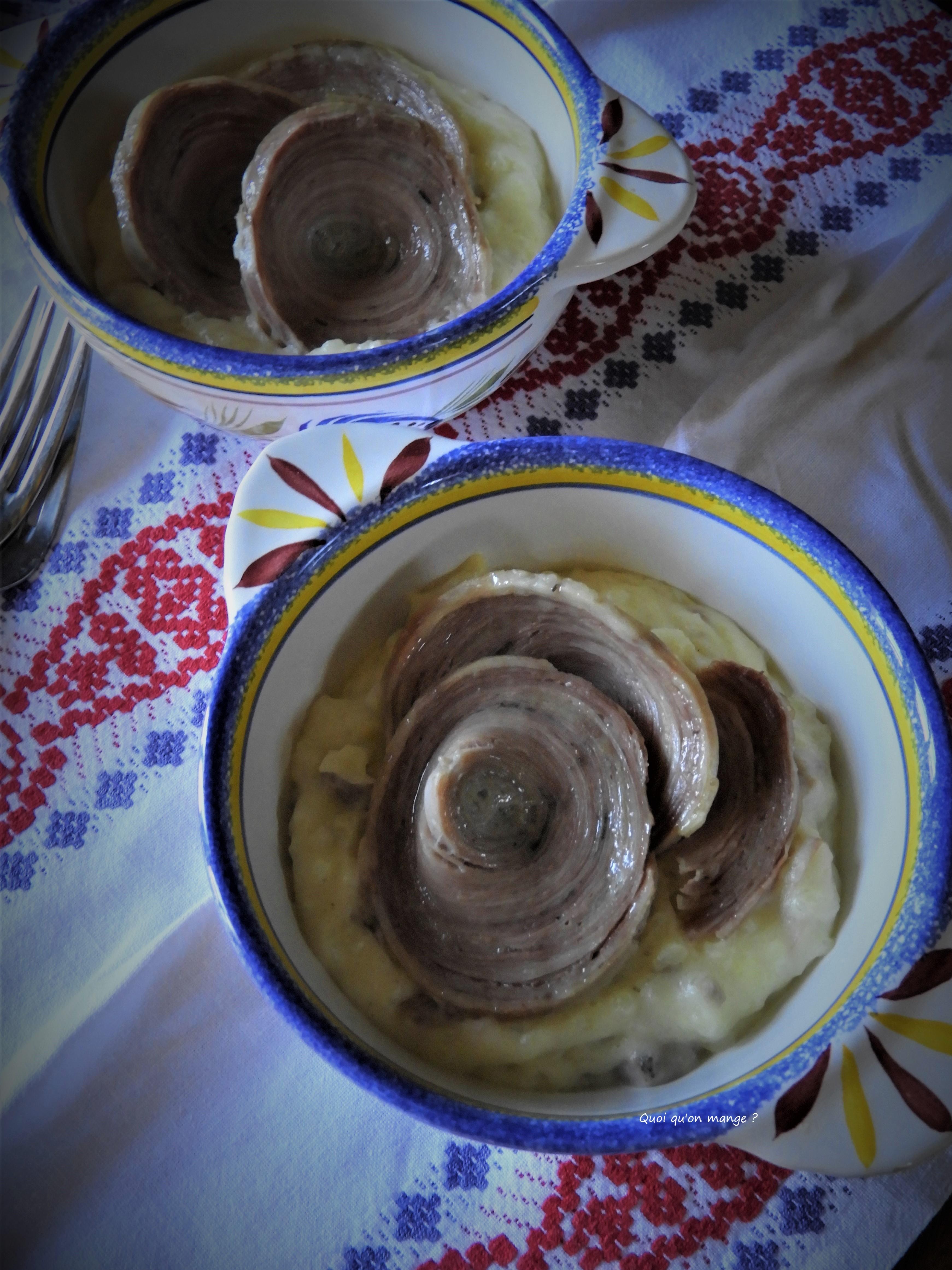 Andouille de Guémené sur purée de pommes de terre