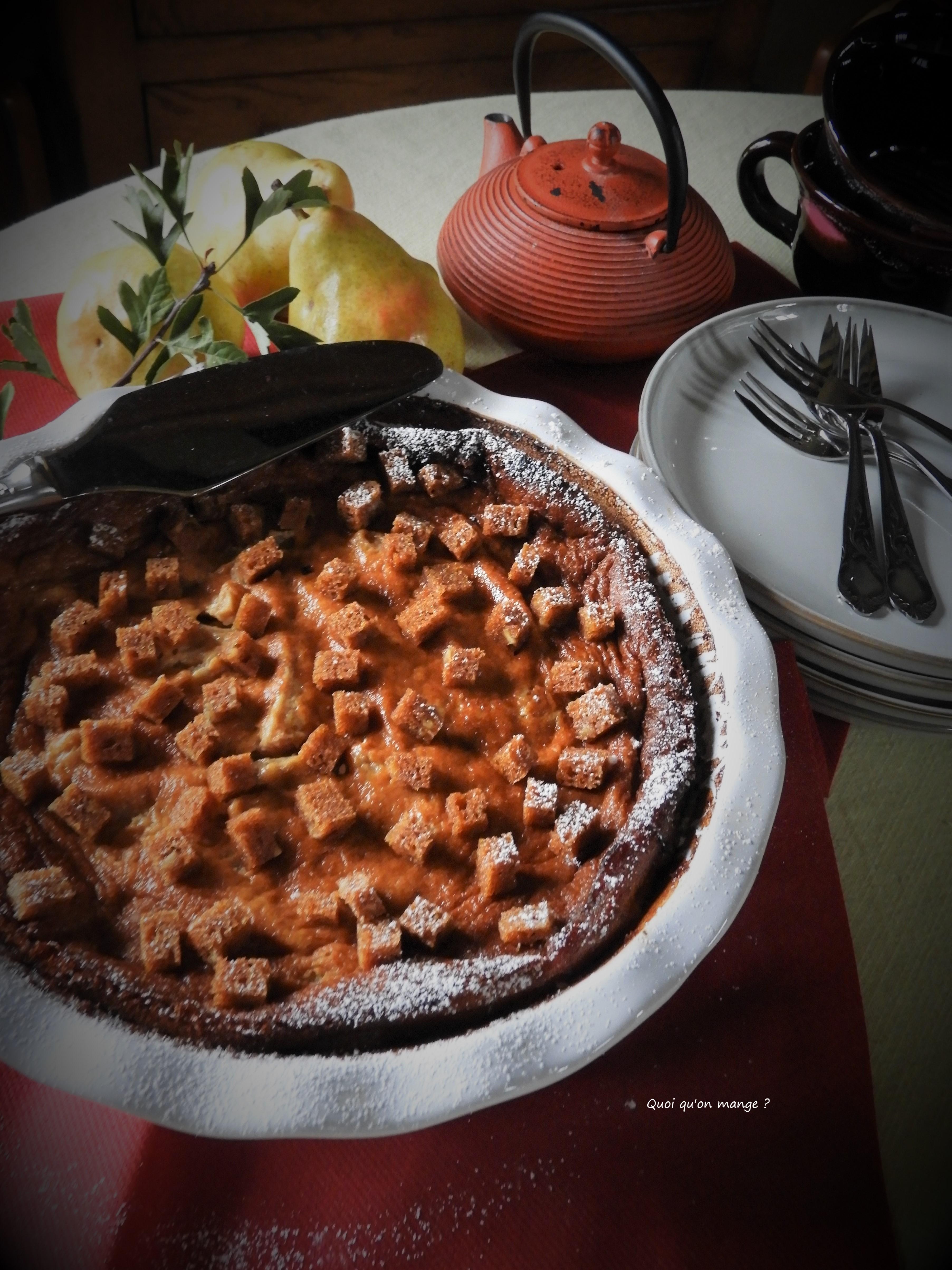 Clafoutis aux poires, saveur pain d'épices
