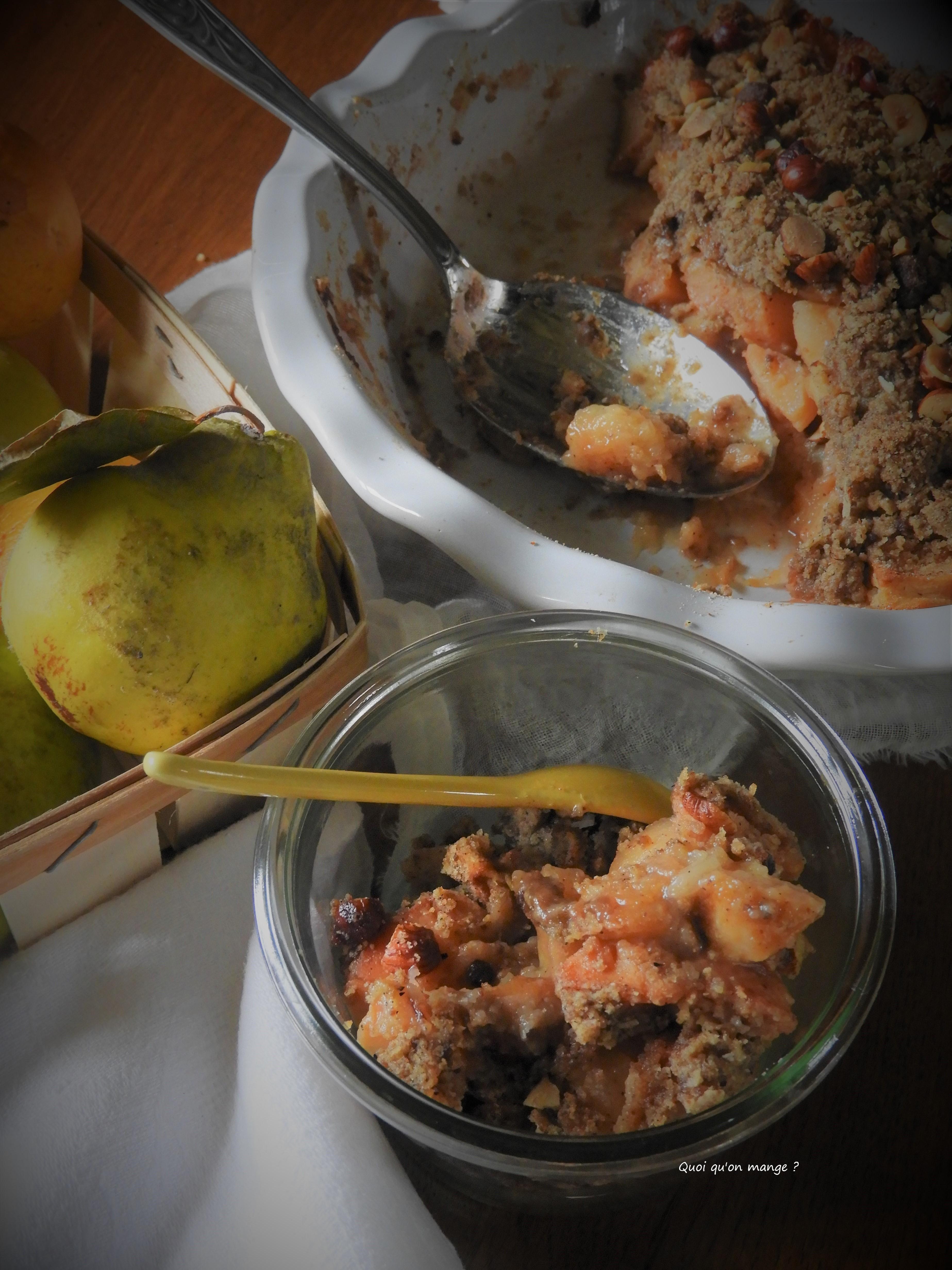 Crumble pomme et coing saveur cannelle