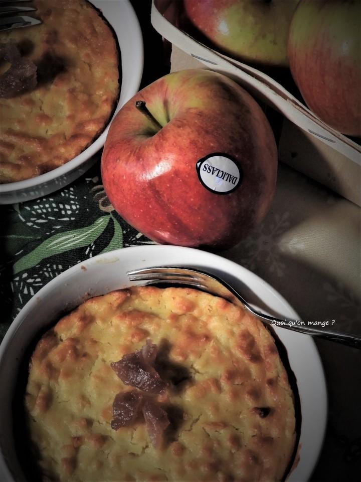 Flan aux pommes sur lit de confiture demarrons