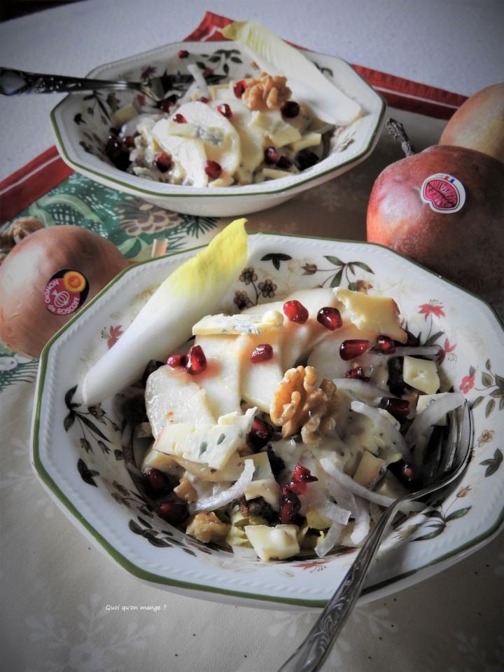 Salade d'endive, poire, oignon de Roscoff et noix au bleu deSassenage