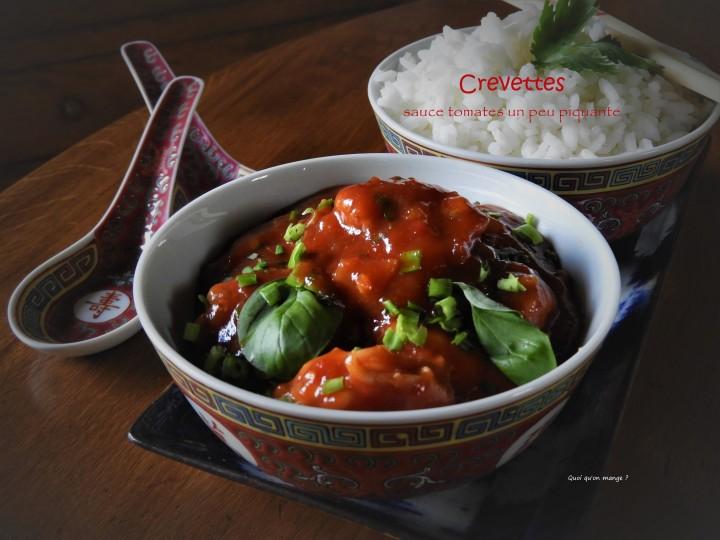 Crevettes sauce tomates un peupiquante