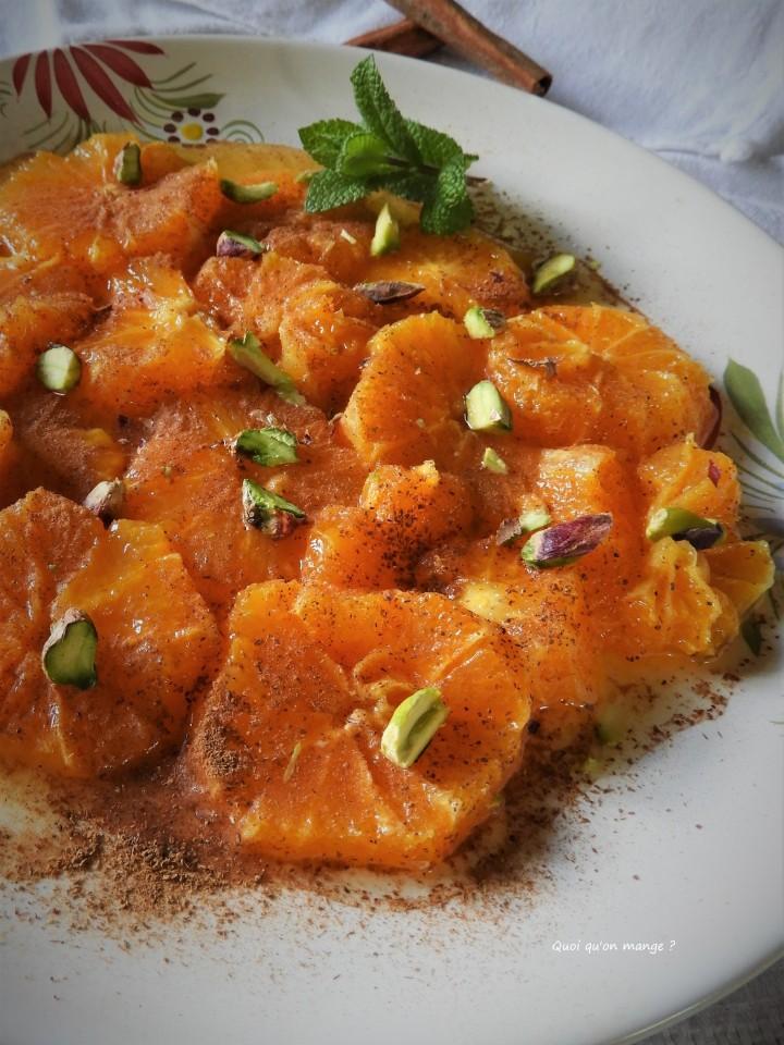 Latchine Gaal Mazhar, salade d'oranges à l'eau de fleur d'oranger et cannelle
