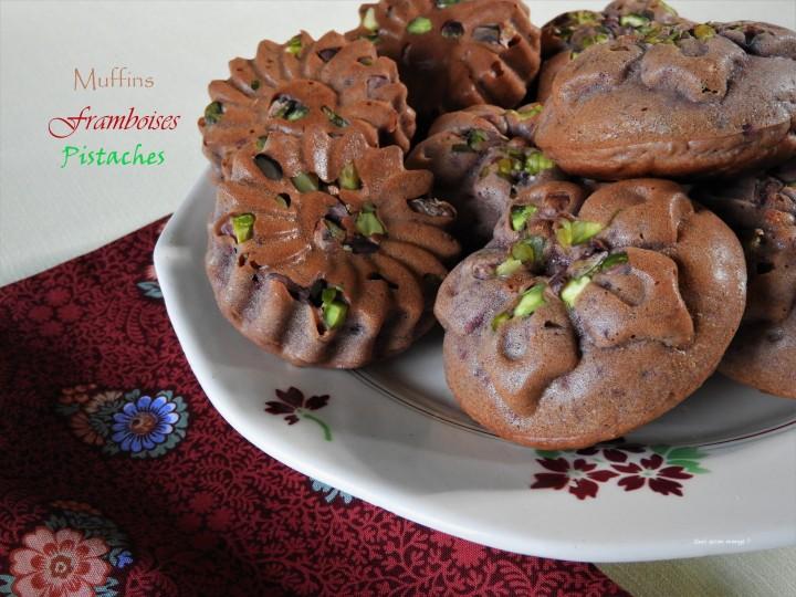 Muffins framboises, éclats depistache
