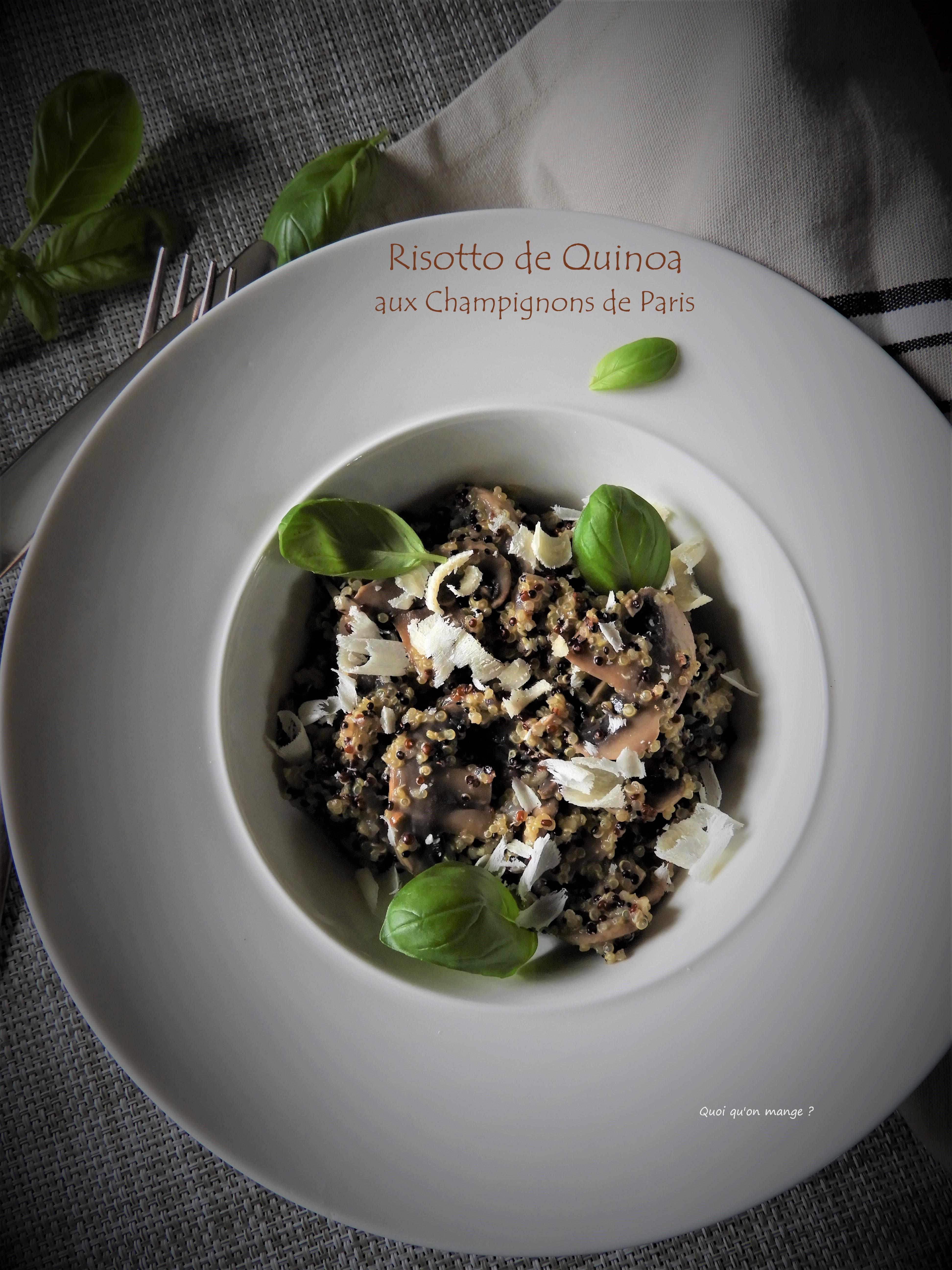 Risotto de quinoa aux champignons de Paris