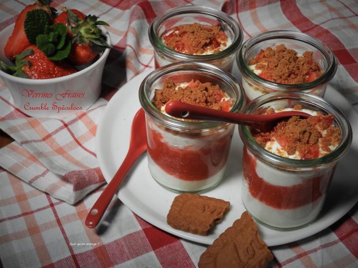 Verrines fraises, crumble despéculoos