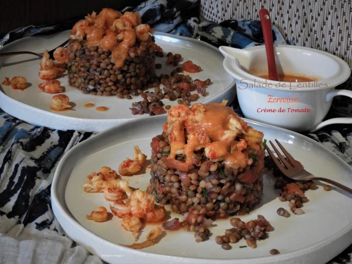 Salade de lentilles, écrevisses et crème detomate