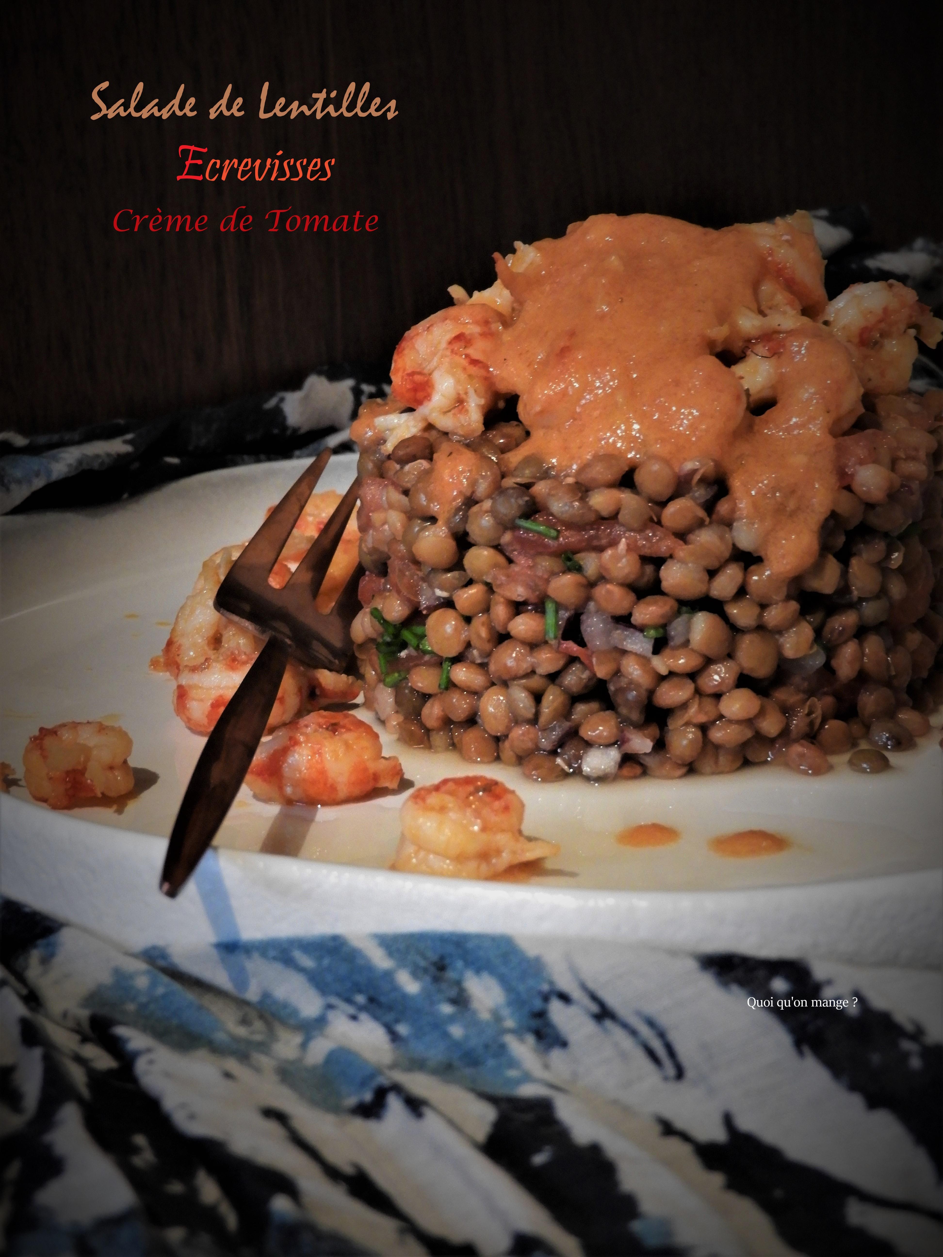 Salade de lentilles, écrevisses et crème de tomate