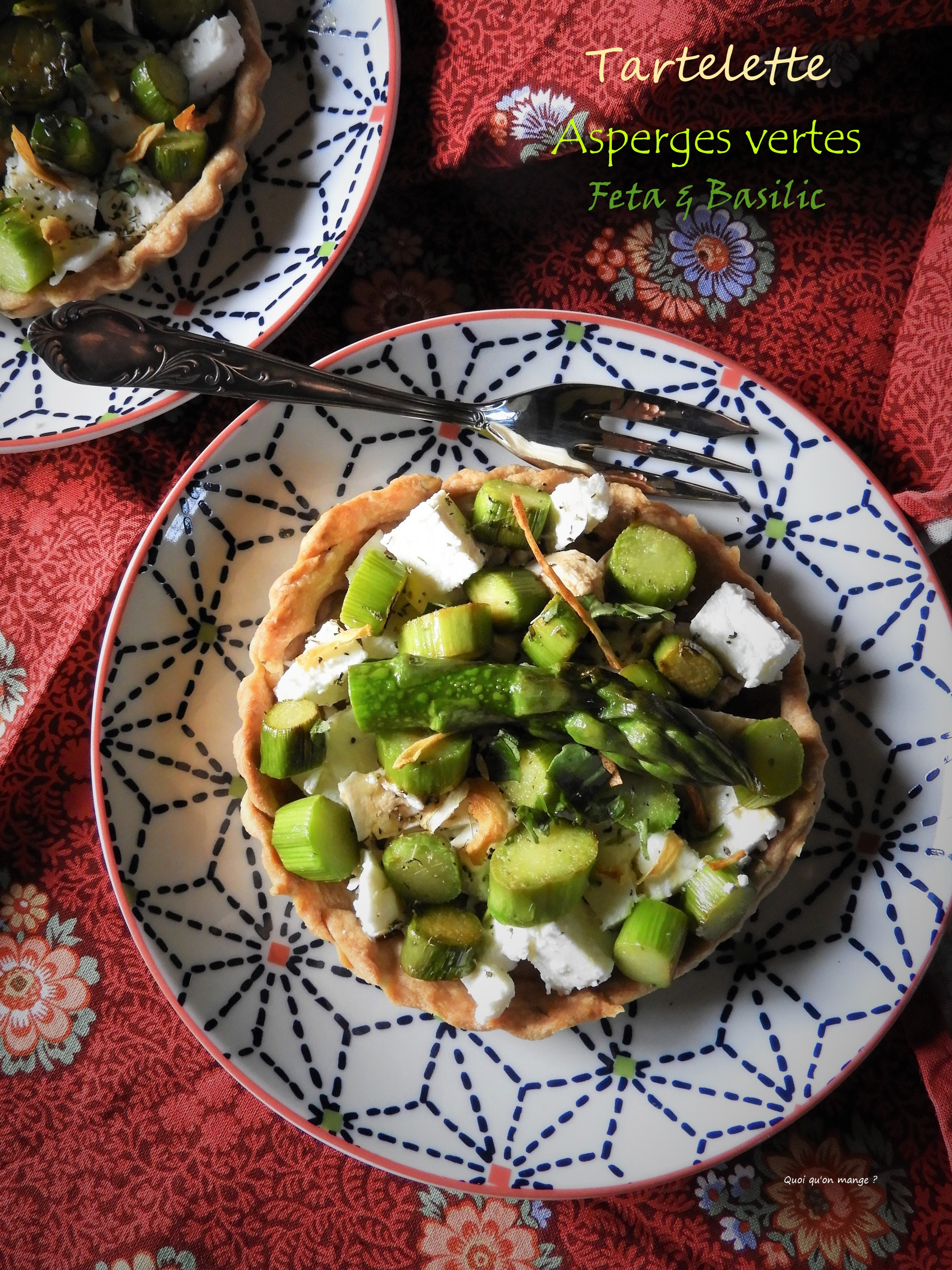 Tartelette asperges vertes, feta & basilic