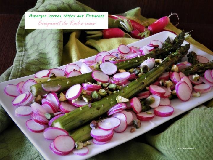 Asperges vertes rôties aux pistaches, croquant de radisroses