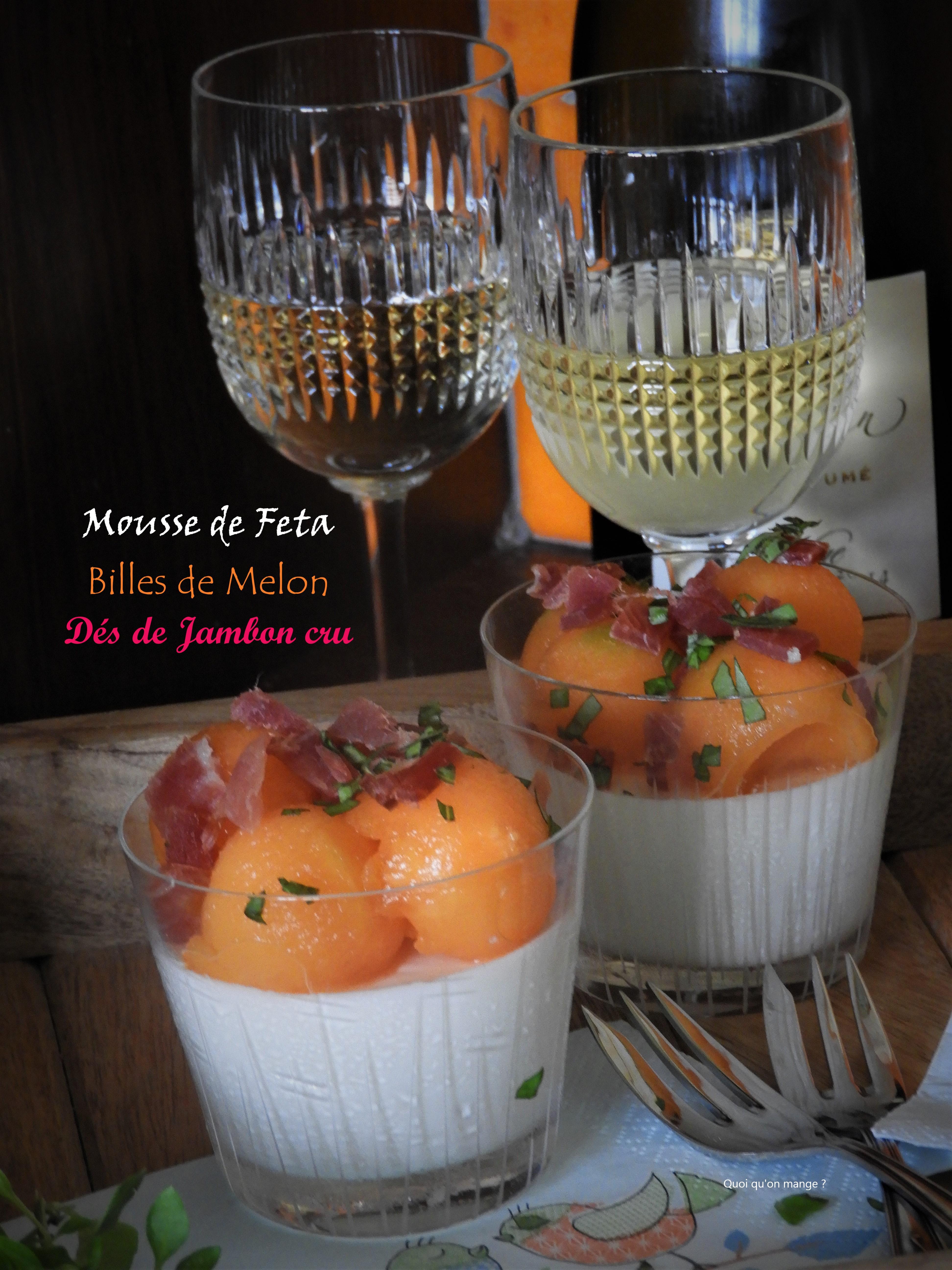Mousse de feta, billes de melon & dés de jambon cru