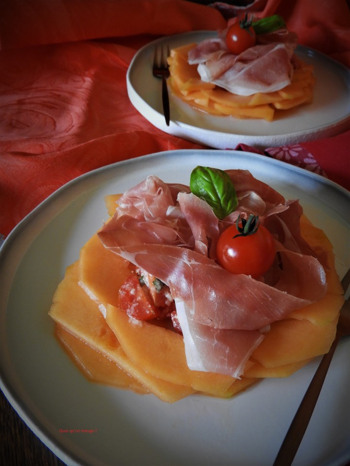 Prosciutto, pomodorini e melone ou Jambon de Parme, tomates cerises et melon