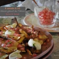 Panais rôti, sauce yaourt au tahini et graines de grenade