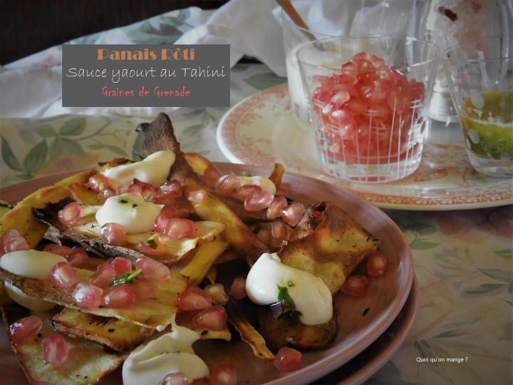 Panais rôti, sauce yaourt au tahini et graines degrenade